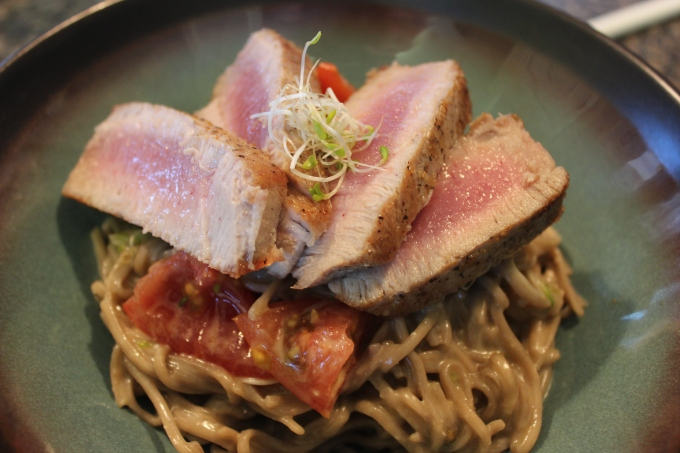 Seared Ahi Tuna on Soba Noodle Salad