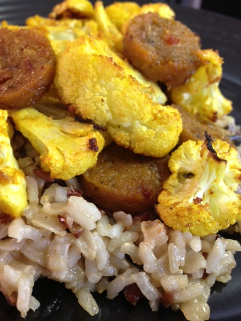 Curried Cauliflower with Vegan Sausage on Wild Rice