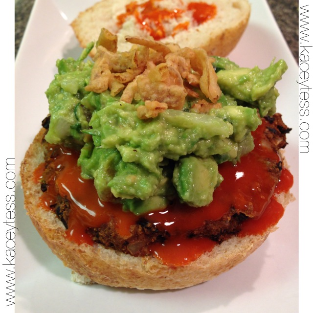 Spicy Black Bean Burgers with Gaucamole