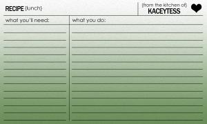 Kaceytess recipe card lunch